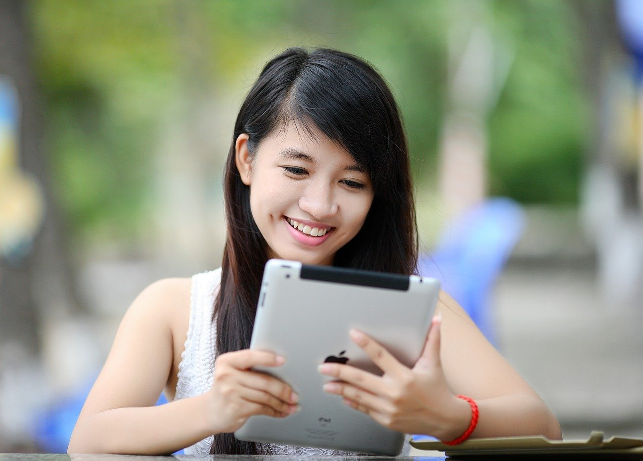 ipad, girl, tablet